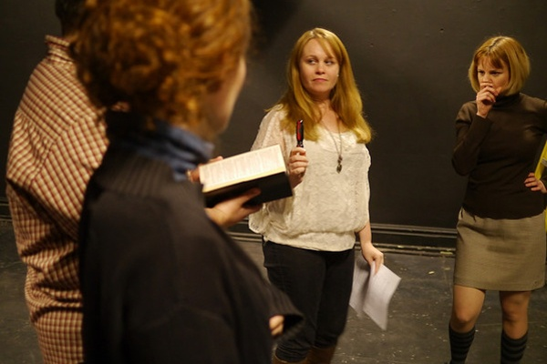 "<p><p>Left to right: Actors Chris Morse, Jennifer Summerfield and Jessica Snow, and Republican Theater Festival director Cara Blouin, rehearse ""Battle Hymn,"" about a group of Christians in a small Wisconsin town fighting the removal of a statue of Jesus. (photo: Kyle Cassidy)</p></p>"