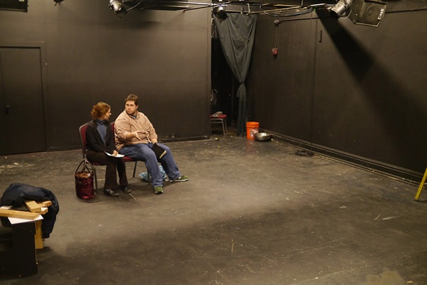 "<p><p>Jennifer Summerfield and Chris Morse rehearse a scene for the play ""Battle Hymn,"" part of the Republican Theater Festival. (photo: Kyle Cassidy)</p></p>"