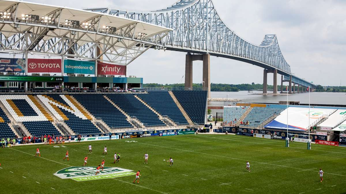 The Commodore Barry Bridge and Chester Waterfront were the backdrop for the Collegiate Rugby National Championship Saturday and Sunday.