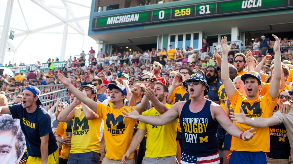 University of Michigan fans react to a call during a match that saw their team get shut out 31-0 by UCLA.