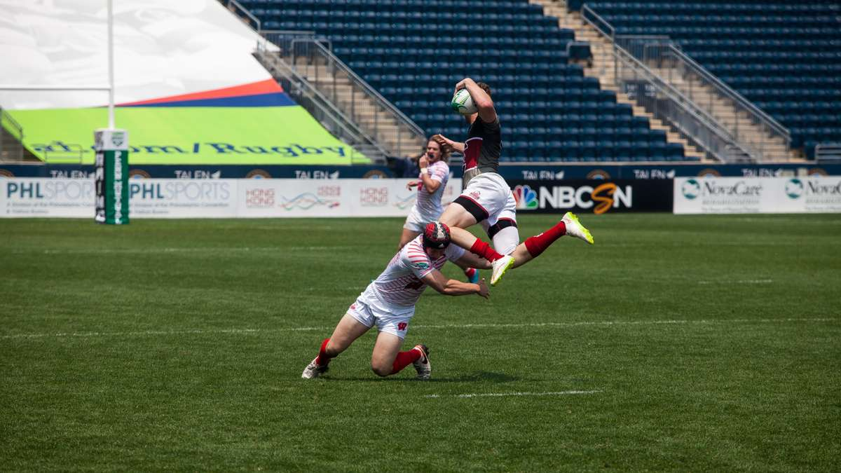 Players from University of Wisconsin and University of South Carolina in action at the Collegiate Rugby National Championship Saturday at Talen Energy Stadium in Chester.