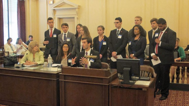 Rutgers students voice support for the resolution at Assembly committee hearing (Phil Gregory/WHYY)