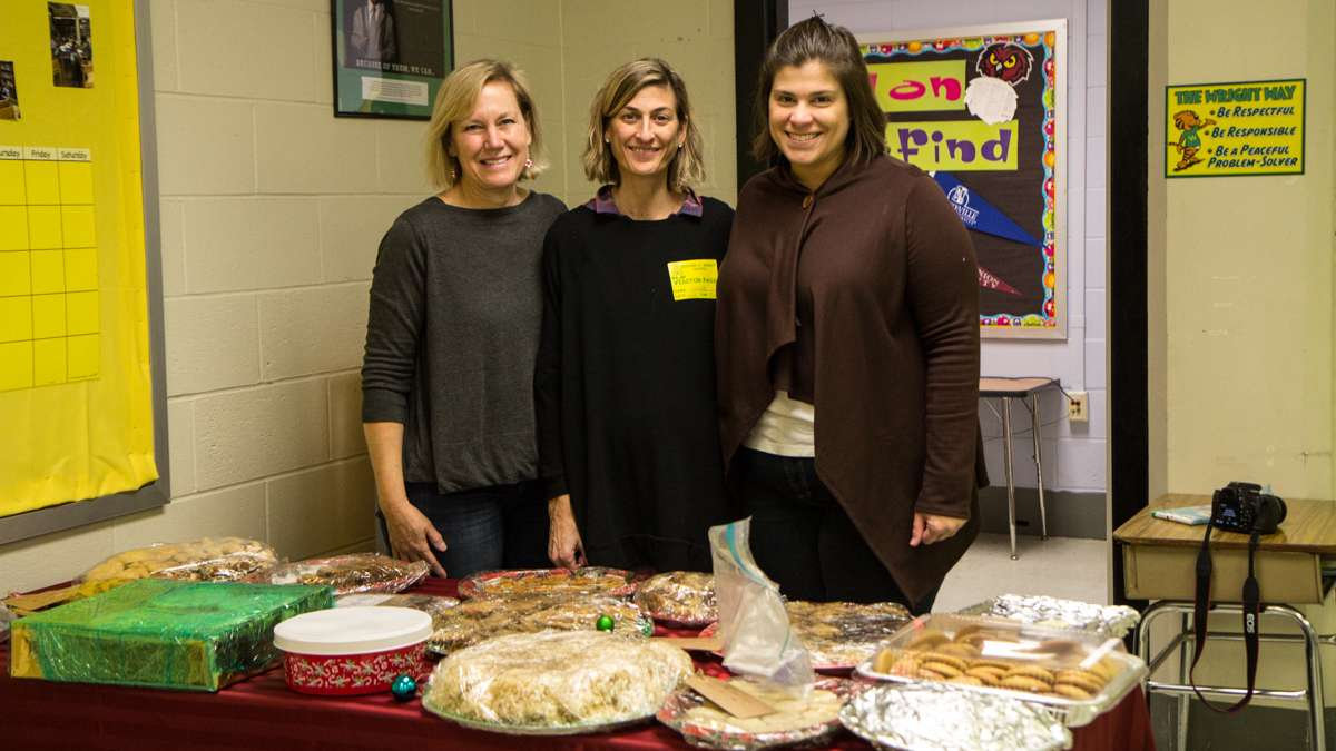 (From left) Gwenn Mascioli, Bonnie Koss, and Nicole Scherer are parents from the Paoli-Wayne area who donate time to gather resources for Richard Wright elementary school in Philadelphia.