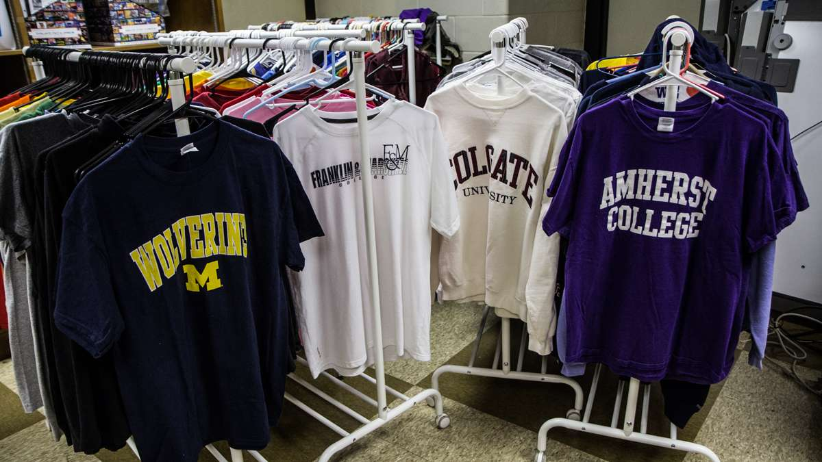 Students at Richard Wright elementary school celebrate college t-shirt day with t-shirts donated from supporters outside the city.