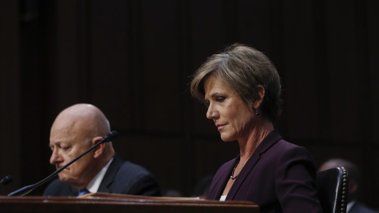 Former Acting Attorney General Sally Yates and Former National Intelligence Director James Clapper listen to questions as they testify on Capitol Hill in Washington, Monday, May 8, 2017, before the Senate Judiciary subcommittee on Crime and Terrorism hearing. (AP Photo/Pablo Martinez Monsivais)