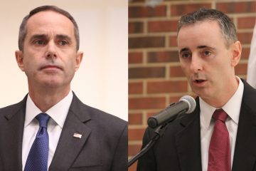 Eighth District congressional candidates Steve Santarsiero (left)and Brian Fitzpatrick face off in a debate at Bucks County College. (Emma Lee/WHYY)