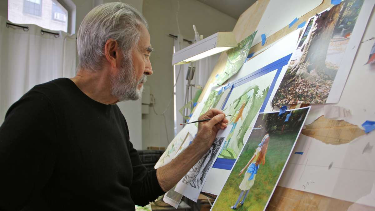 Illustrator Charles Santore works on a watercolor illustration for a new edition of ''Alice's Adventures in Wonderland.'' (Emma Lee/WHYY)