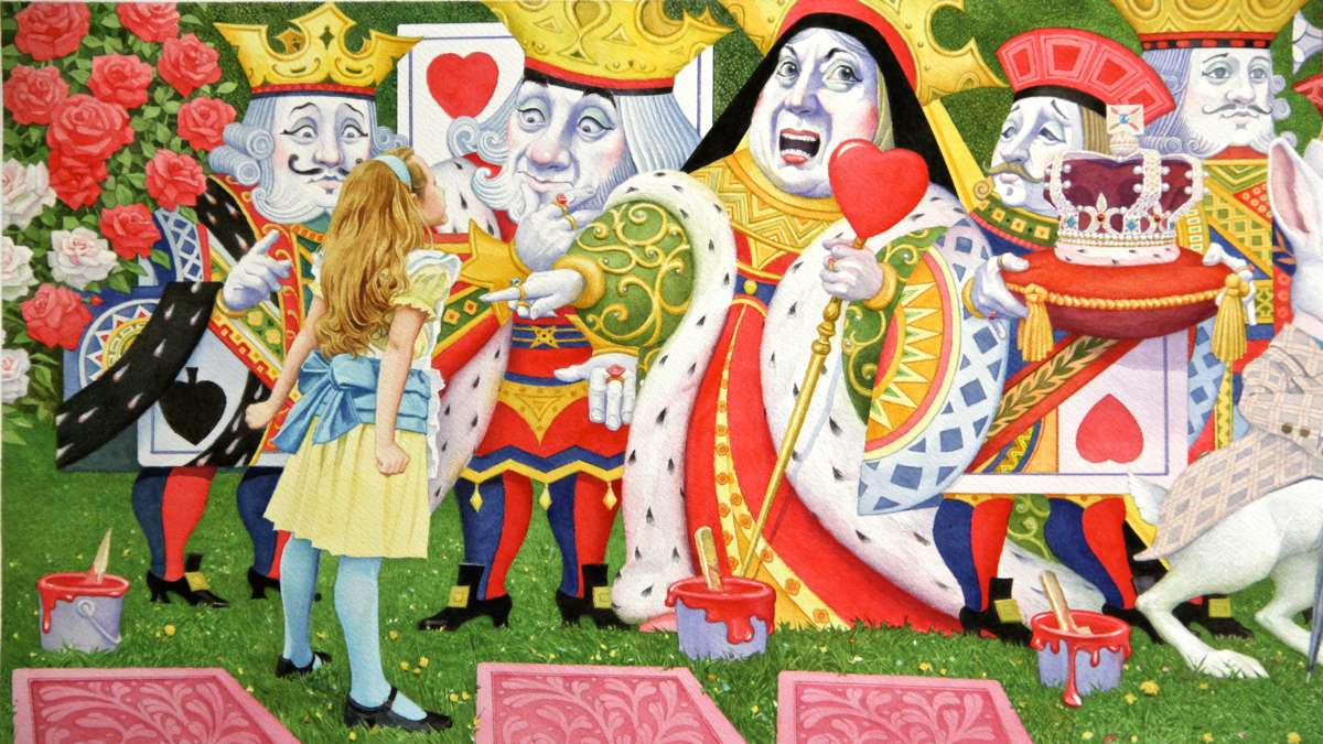 In a detail from a four-page foldout illustration, Alice stands up to the Queen of Hearts. (Illustration by Charles Santore)
