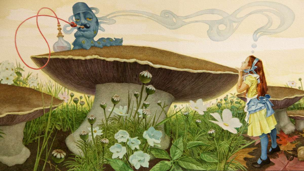 Alice has a run-in with a hookah-smoking caterpillar. (Illustration by Charles Santore)