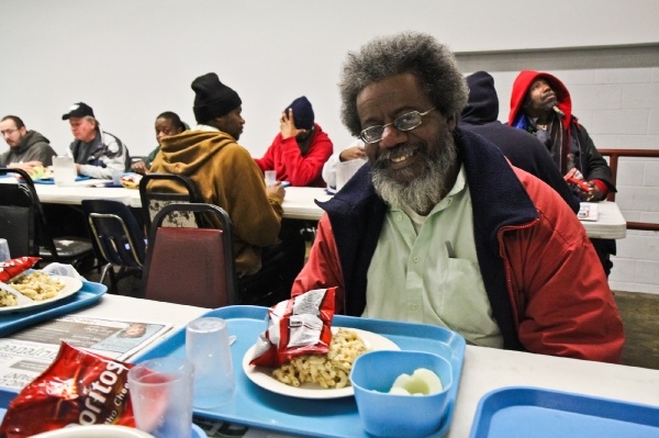 <p>Edmond Butler has been coming to the Sunday Breakfast Rescue Mission for 6 months.  He said that he's seen a lot of volunteers. (Kimberly Paynter/for NewsWorks)</p>