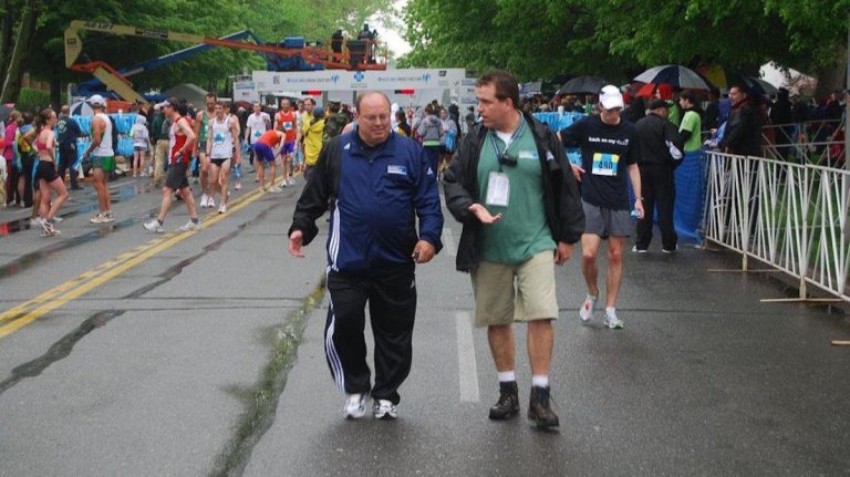 Jim Marino during the Broad Street Run (left) (Courtesy of Independence Blue Cross)