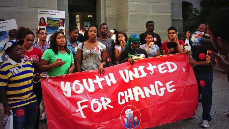 Students rally for additional school funding outside of City Hall in Philadelphia on Tuesday.  (Holly Otterbein/WHYY)