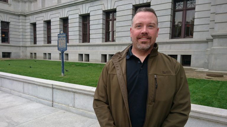 Schuylkill County homeowner Ron Boltz has become a crusader in the fight to eliminate Pennsylvania school property taxes. (Kevin McCorry/WHYY)