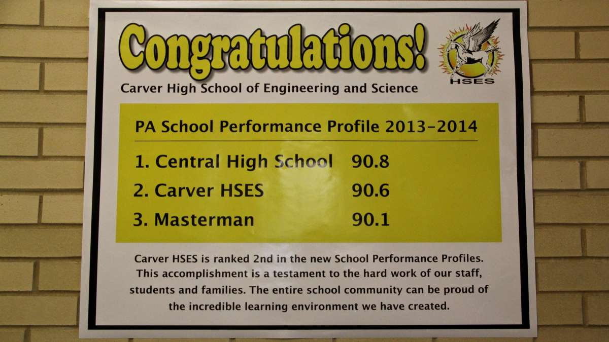 Carver High School edged past Masterman in the latest state rankings and nipped at the heels of top-performing Central. The median score for the Philadelphia School District was 56.8. (Emma Lee/WHYY)