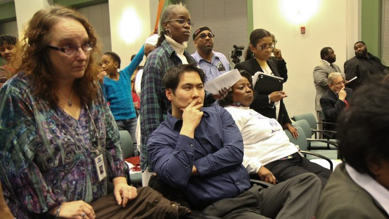 Germantown High School supporters at Thursday night's SRC meeting were stunned to learn that the school will be closing despite their efforts to save it. (Kimberly Paynter/WHYY)