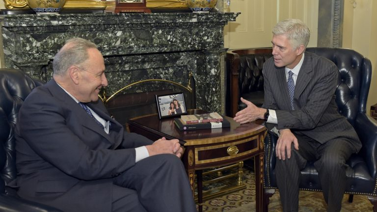 Senate Minority Leader Sen. Charles Schumer of N.Y., left, meets with Supreme Court nominee Neil Gorsuch, right, on Capitol Hill in Washington, Tuesday, Feb. 7, 2017. (AP Photo/Susan Walsh, file)