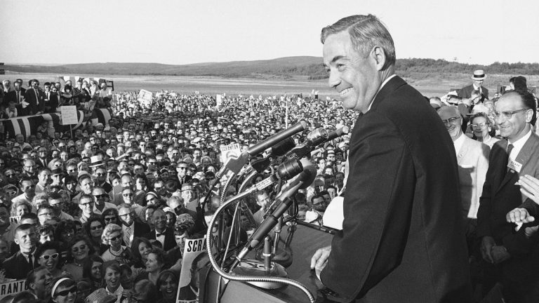 In this July 5, 1964, image, then-Pennsylvania Gov. William Scranton Jr. speaks to hometown well-wishers at the Scranton-Wilkes-Barre Airport in Scranton, Pa. Scranton, also a presidential candidate and ambassador to the United Nations, died Sunday, July 28, 2013. He was 96. (AP Photo, File)