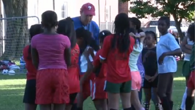 Nearly 40 girls between the ages of 5 and 11 have taken to the grass at Vernon Park to learn the game. The City suggested they move. (Photo courtesy of Philadelphia Neighborhoods)