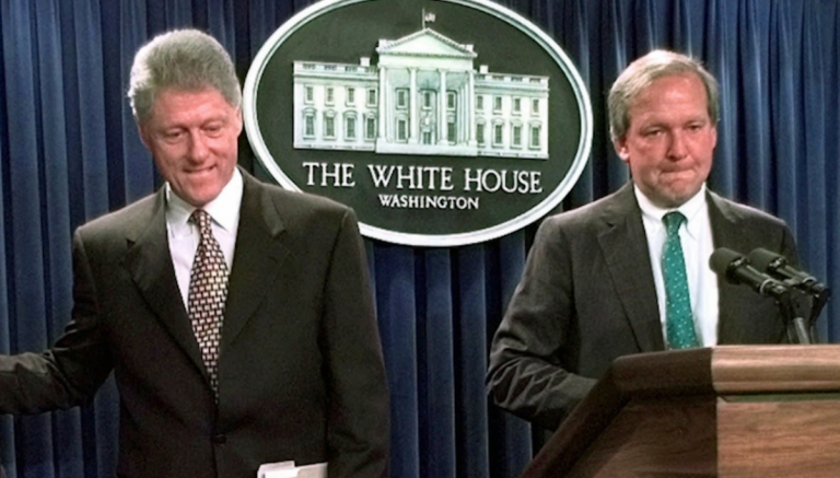 President Bill Clinton's press secretary in 1996, Mike McCurry (right), recalled earlier this year that Clinton's DOMA posture