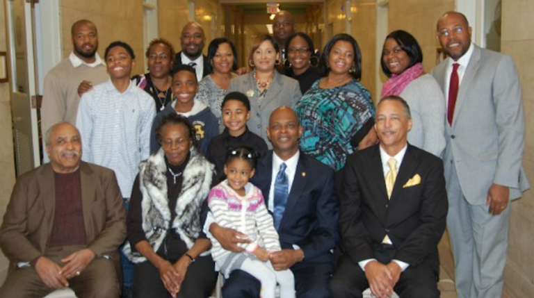 State Rep. Stephen Kinsey (front row, center) was surrounded by friends and family after being sworn into office in January. (Courtesy of Rep. Kinsey)