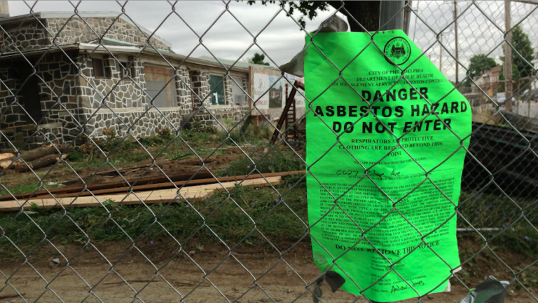 The Kingsley Court developer says that asbestos and a sensitive city-permitting process have teamed up to delay the project. (Brian Hickey/WHYY)