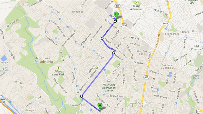 The walk/run route. (Image from Google Maps)
