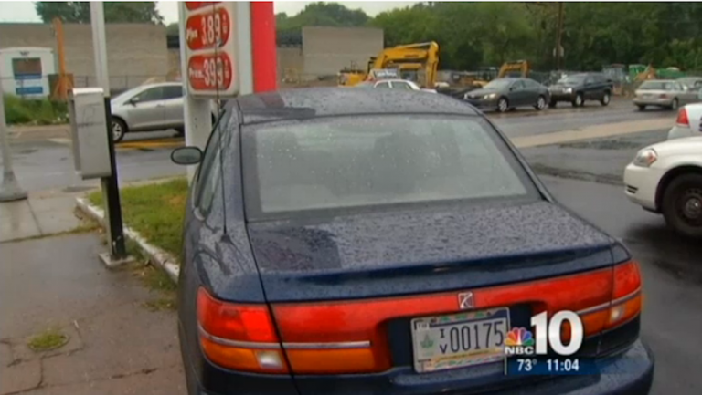 The vehicle from which the woman jumped during a Thursday morning carjacking. (Photo courtesy of NBC10)