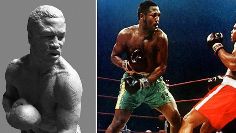 Sculptor and Overbrook native Lawrence Nolan's winning submission for the Joe Frazier statue was based on Smokin' Joe's pose when knocking Muhammad Ali down in their first fight. (Courtesy of Nolan)