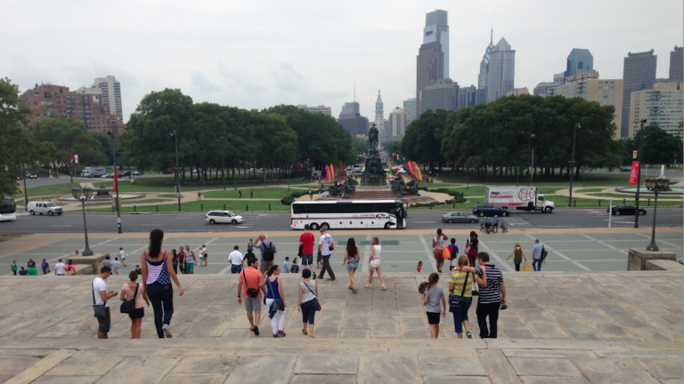 Proposed changes to the steps in front of the Philadelphia Museum of Art would cut its width in half at certain points. (Brian Hickey/WHYY)