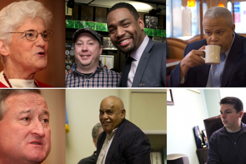 Photos for this week's mayoral-campaign quotes quiz. (Abraham and Kenney/Via Next Mayor Partnership's Steph Aaronson; Oliver/Bas Slabber for NewsWorks; Street/Brad Larrison for NewsWoeks; Williams via YouTube; Boyle/NewsWorks, file art)