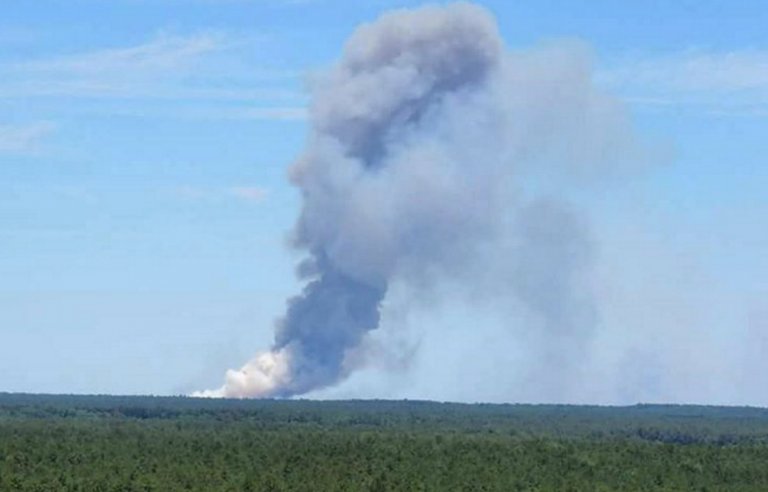 The smoke plume from the Joint Base wildfire as spotted by JSHN Instagram contributor @susiesunshine13 from Wharton Forest's Apple Pie Hill fire tower.
