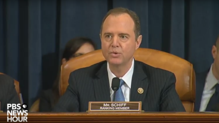 U.S. Rep. Adam Schiff speaks at a House Intelligence Committee hearing (PBS)