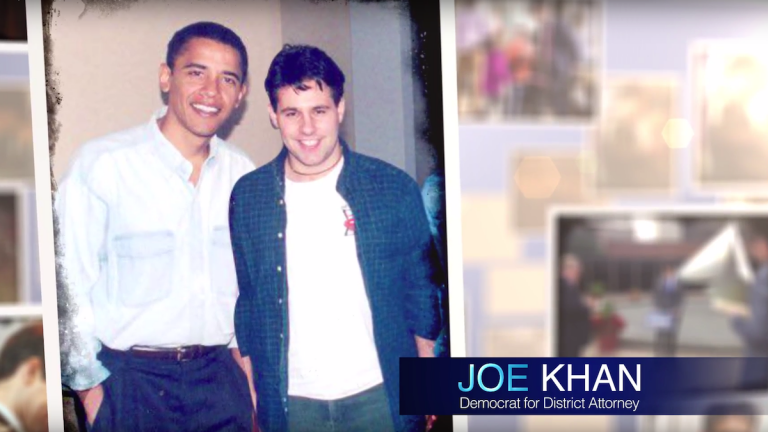 Joe Khan is pictured with a much younger Barack Obama, a professor of Khan's in law school.