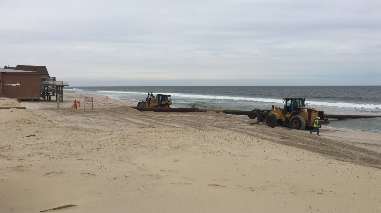 Beach replenishment equipment arrives today in Ocean County's Ortley Beach. (Photo: Dominick Solazzo)