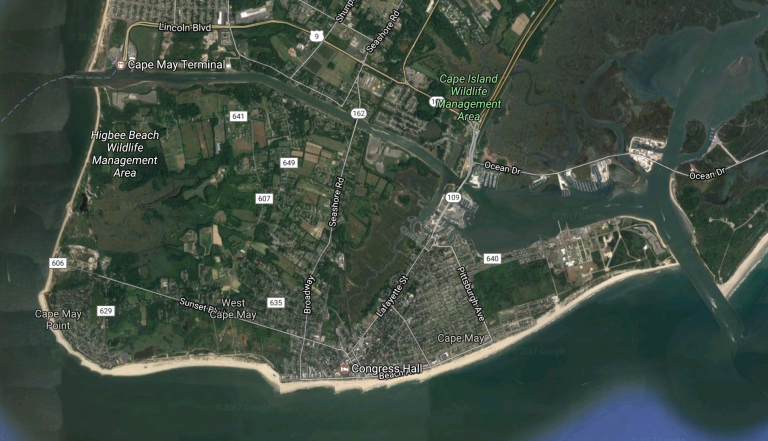 Cape Island includes Cape May, Cape May Point, West Cape May, and portions of Lower Township. (Google Maps image)