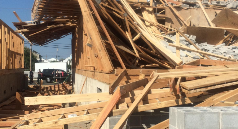 A building under construction in North Wildwood collapsed Sunday. (Image courtesy of the North Wildwood Fire Department)