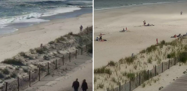 The Trenton Avenue beach in Lavallette on May 14, 2017 (l) and June 23, 2017 (r) as seen from Lavallette's Elizabeth Avenue beach camera.