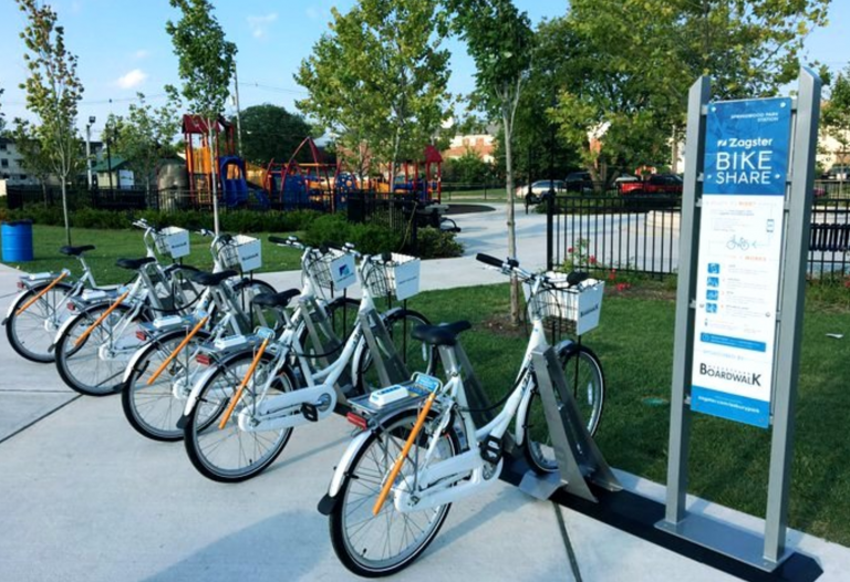 A bike share location in Asbury Park. (Image courtesy of the city of Asbury Park)