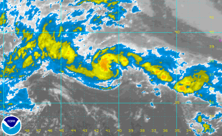 NOAA infrared satellite imagery of Tropical Depression One this afternoon.