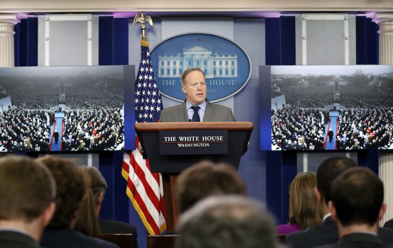 White House Press Secretary Sean Spicer speaks during a news conference at the White House