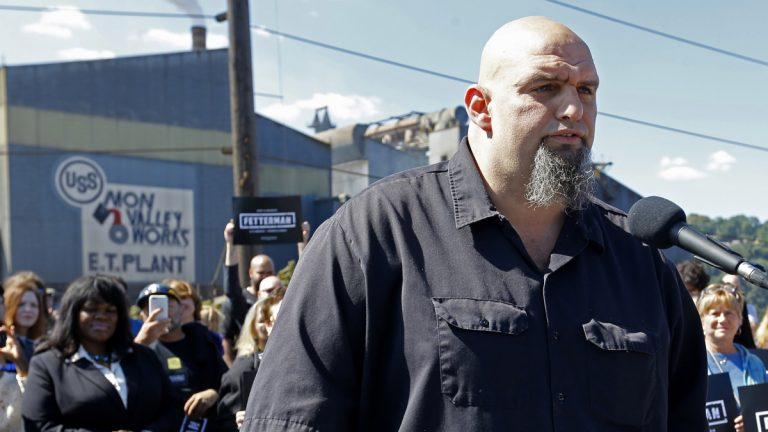 John Fetterman, the mayor of Braddock, Pennsylvania, addresses a crowd while announcing his candidacy for the U.S. Senate Monday in Braddock. (AP Photo/Keith Srakocic)