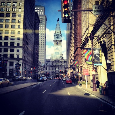 <p><p>Route 12 riders can catch a quick glimpse of City Hall as they cross Broad Street. (Emma Fried-Cassorla/Philly Love Notes)</p></p>
