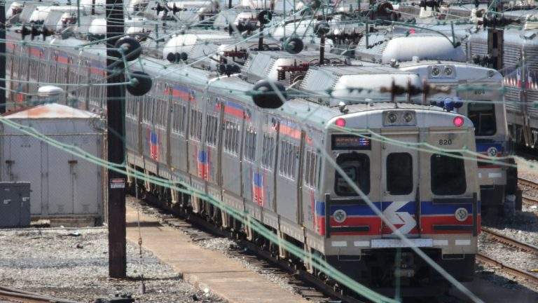 Some of the 120 Silverliner V railway cars taken out of service by SEPTA (Southeastern Pennsylvania Transportation Authority) are shown in a storage yard. This summer rail service in the Philadelphia region has been impacted due to cracks in the structure of the equipment. (AP Photo/Harry Hamburg)