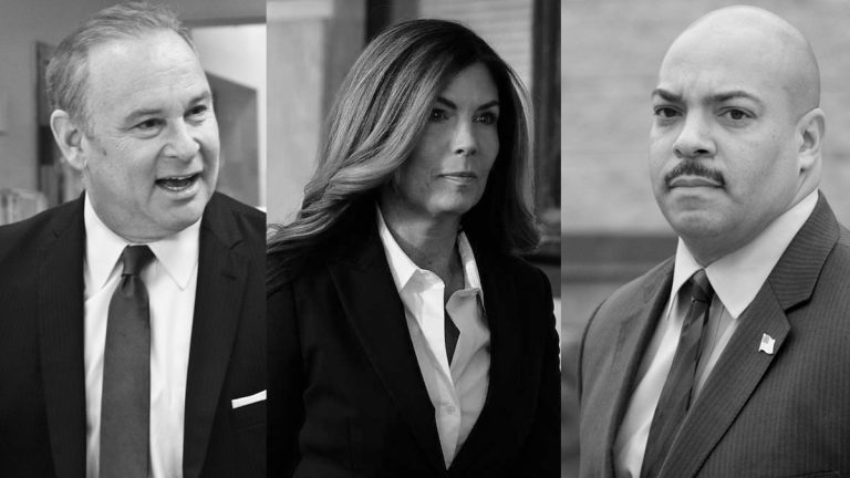 (From left) Rob McCord, Former Pennsylvania Attorney General Kathleen Kane, and  Philadelphia District Attorney Seth Williams (Kimberly Paynter, Bastiaan Slabbers, and Nathaniel Hamilton for NewsWorks)