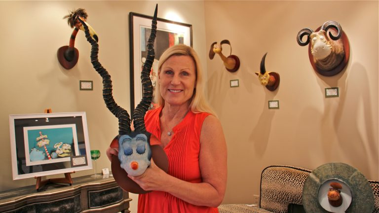 Before Theodor Geisel became Dr. Seuss, he began work on an array of faux taxidermy sculptures that foreshadowed the characters in his children's books. Resin reproductions can be seen and purchased at Ocean Galleries in Avalon. (Emma Lee/WHYY)