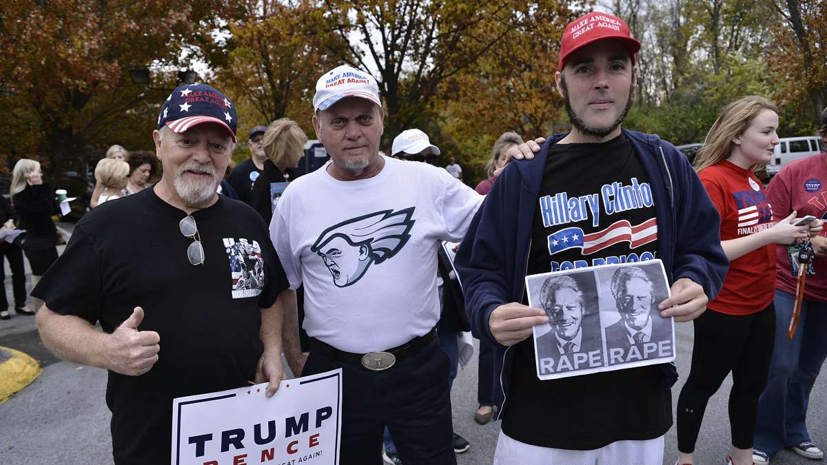 Trump supporters pose with Jonathan Lee Riches outside a rally with Melania Trump in Berwyn, Pennsylvania, on Thursday, Nov. 3, 2016. (Bastiaan Slabbers for NewsWorks)
