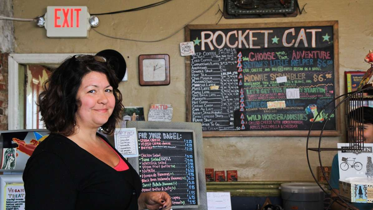 Karen Breese, owner of the Rocket Cat Cafe in Fishtown, opened the cafe nine years ago because she wanted to create a hang-out space that wasn't a bar and to offer the community good coffee. (Kimberly Paynter/WHYY)