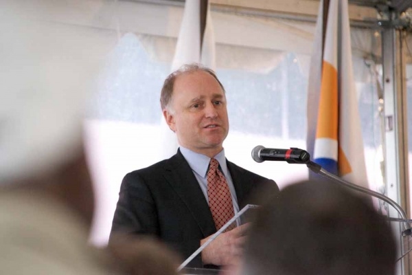 <p><p>Thomas B. Crowley, Jr. CEO, COO, COB, and President of Crowley Maritime Corporation addresses the crowd at the opening ceremony. (Nat Hamilton/for NewsWorks)</p></p>