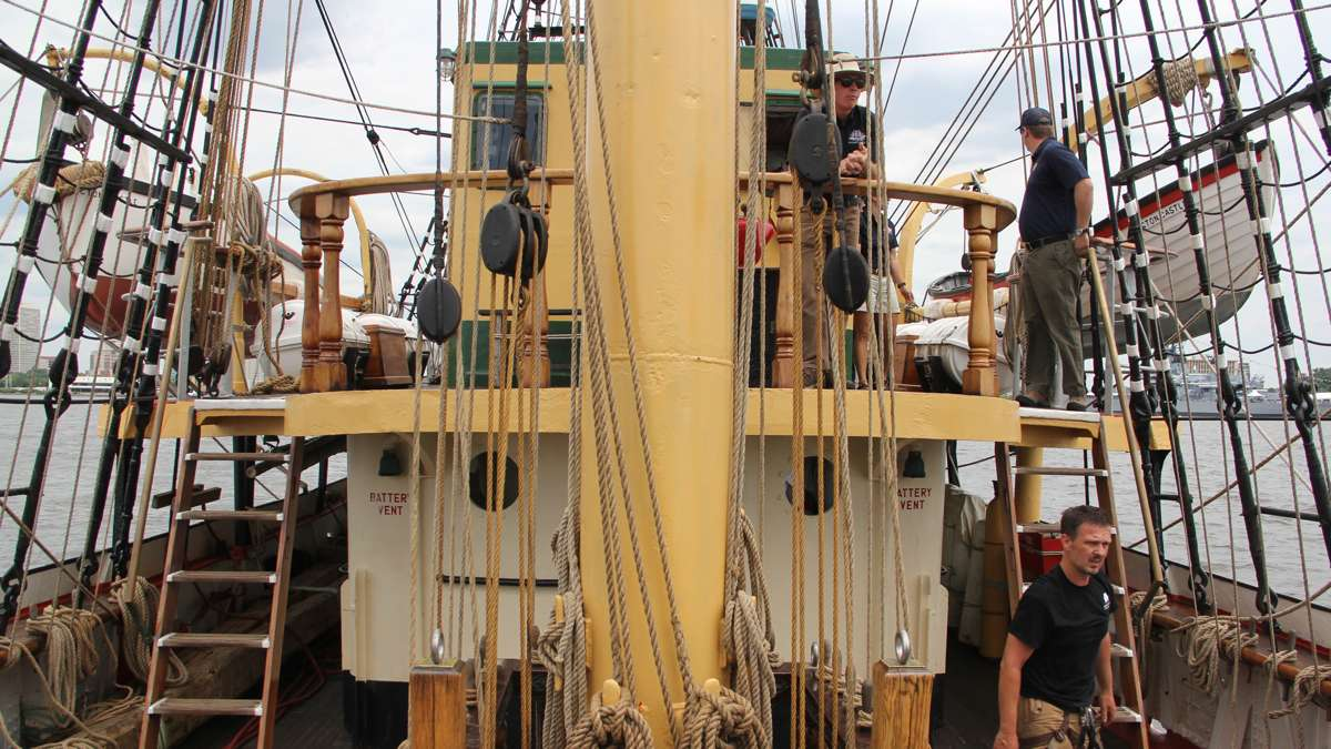 The barque Picton Castle is a three-masted tall ship based in Lunenburg, Nova Scotia. Known for training sailors, it has been around the world six times. (Emma Lee/WHYY)
