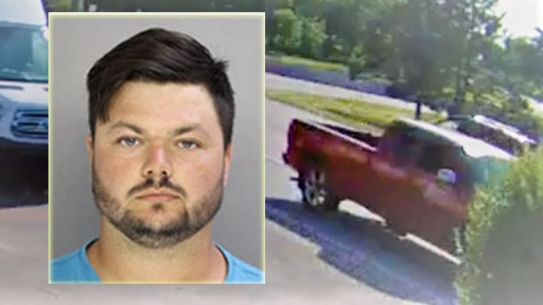 David Desper, 28, of Trainer, Pa., and the truck he was driving during the shooting (West Goshen PD)